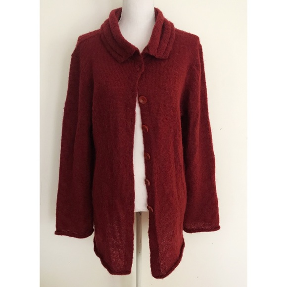 FLAX - VGUC FLAX Mohair Blend Long Burgundy Cardigan from ! may's ...